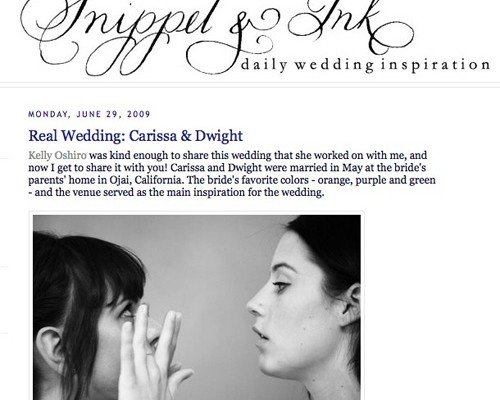 Real Wedding featured on Snippet & Ink