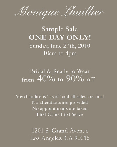 Sample Sale June 27.2010