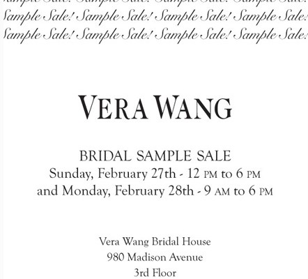 Vera Wang Sample Sale- This Weekend in NYC
