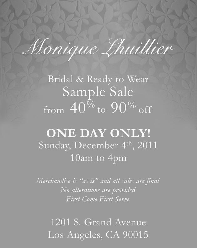 December 4, 2011 sample sale