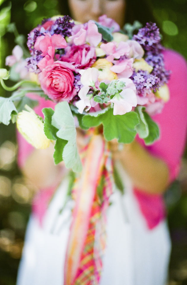 pink and purple wedding bouquets flower chic colorful purple pink amp yellow bouquet los 6560