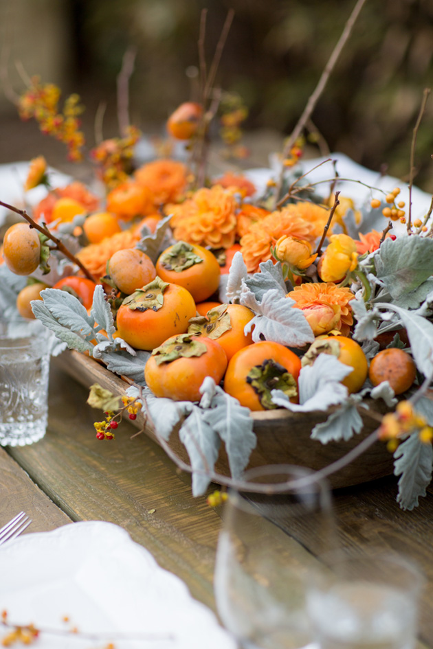 Entertaining thanksgiving table with persimmons los