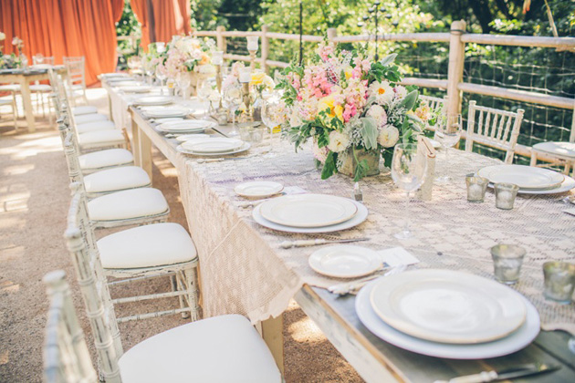 Shabby Chic Wedding Table Ideas : Farm house tables from t own country were paired with shabby chic