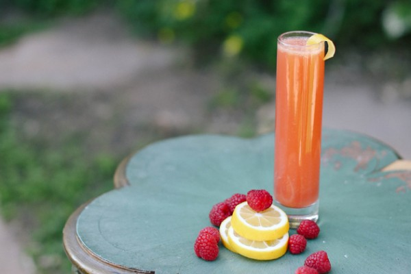 On the Rocks: Raspberry-Champs Punch